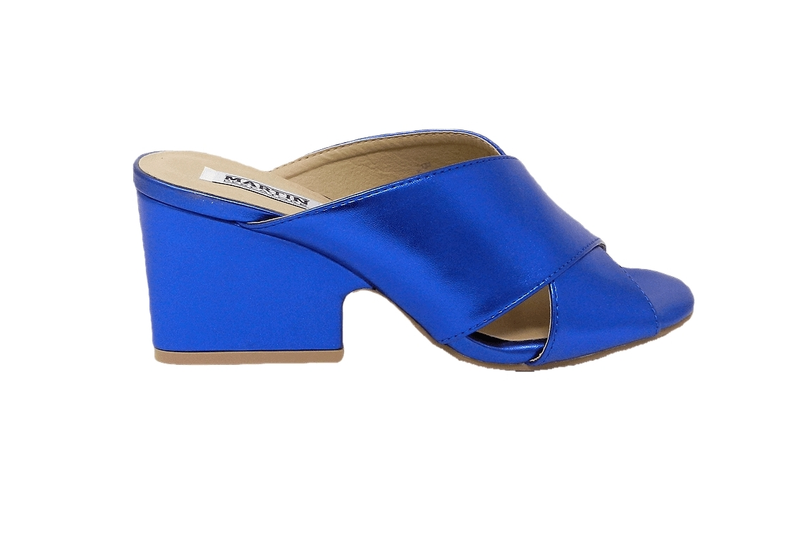 Sandal woman in eco-leather model easy-on - blue - 1