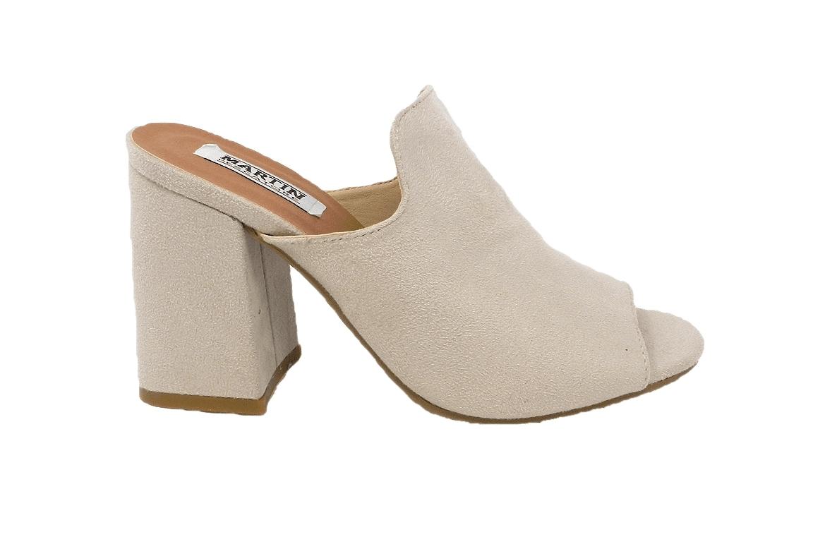 Sandal in faux suede, easy-on - beige - 1