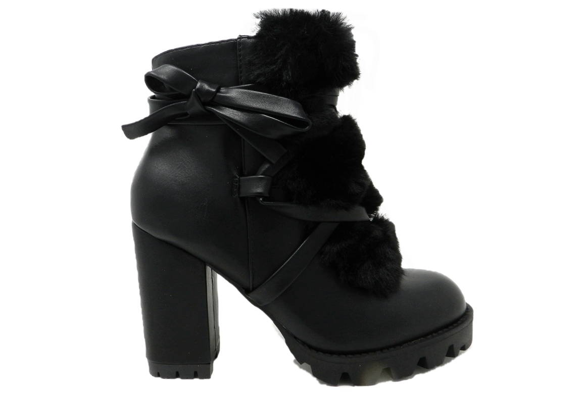 Tronchetto woman with heel and soft fur - black  - 1